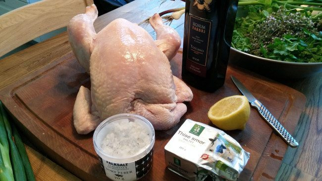 Ingredienser til kylling på grill