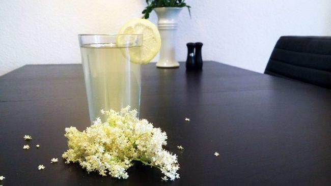 Et glas hjemmelavet hyldeblomstsaft