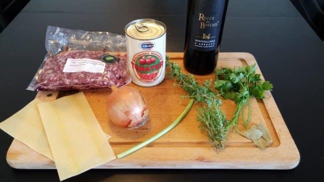 Ingredienser til kødsauce