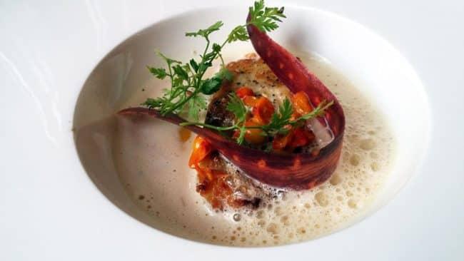 Ristet kulmule med gulerod, syltede havtorn og sauce mousseline