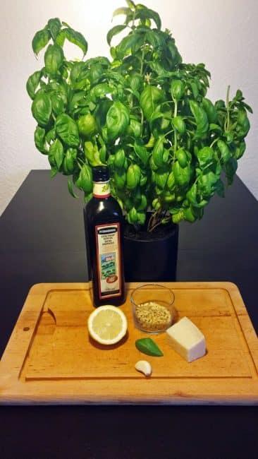 Råvarer til grøn hjemmelavet pesto