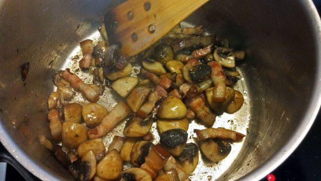 Bacon og champignon