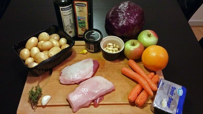 Ingredienser til stegt andebryst mm.