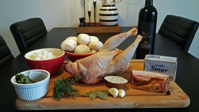 Ingredienser til coq au vin