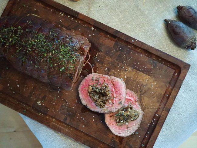 Fyldt roastbeef i ovn