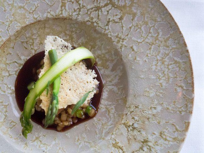 Kalvebrisler med grønne asparges, perlebyg, havgus og sauce med røget marv